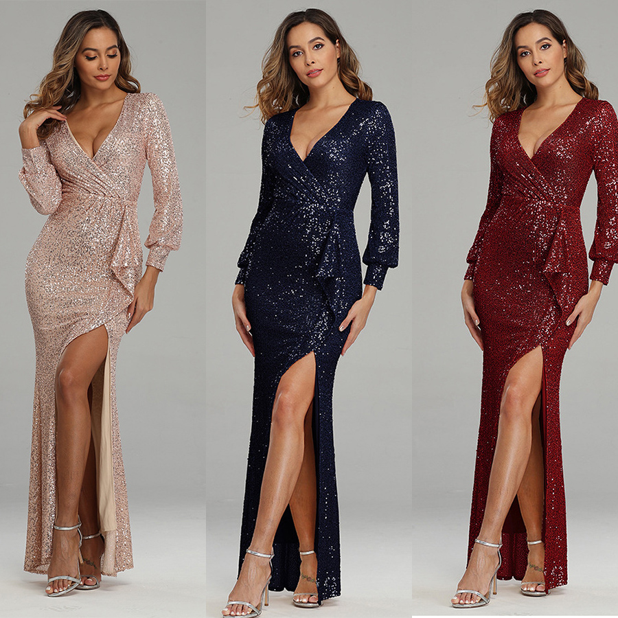 High Split Evening Dress Deep V-Neck Women Party Dress HQ001 2020 Plus Size Robe De Soiree Long Sleeved Gold Sequins Formal Gown