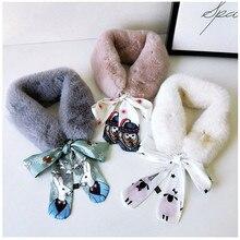 Модный мягкий женский шарф с воротником из искусственного кроличьего меха, теплый зимний шарф с леопардовым принтом, элегантные женские шарфы S026