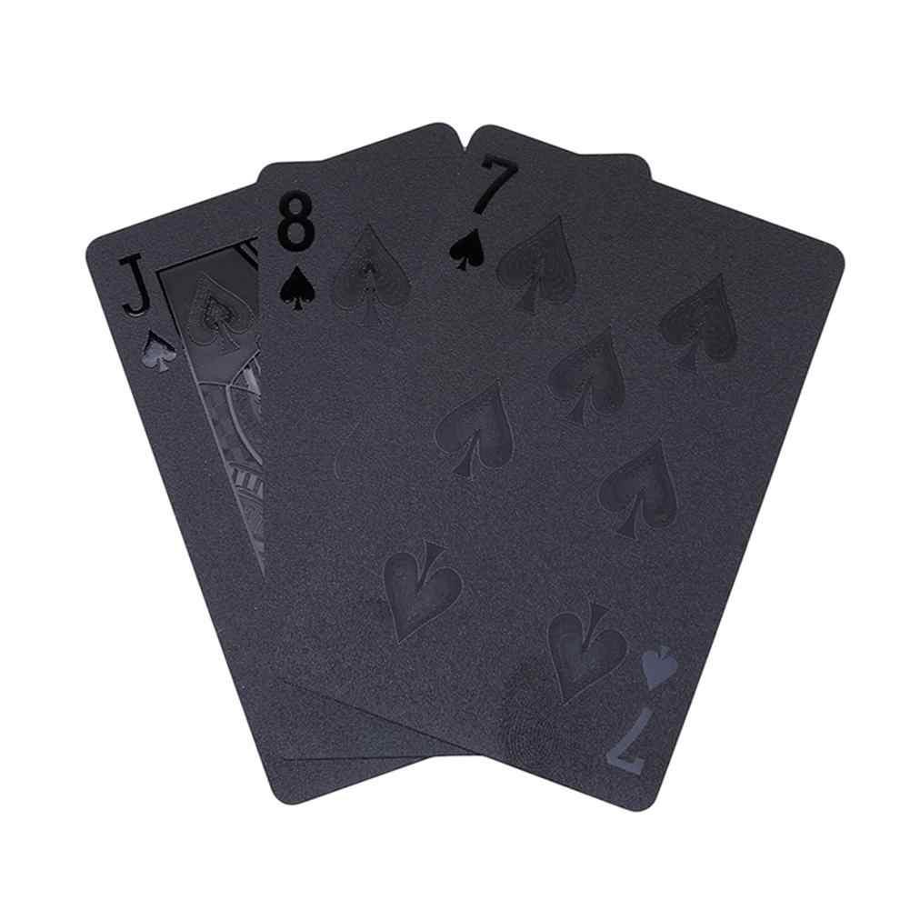 Poker innovant feuille d'or pur noir pont Poker Texas plastique étanche classique tours de magie outil jeu de société cartes à jouer