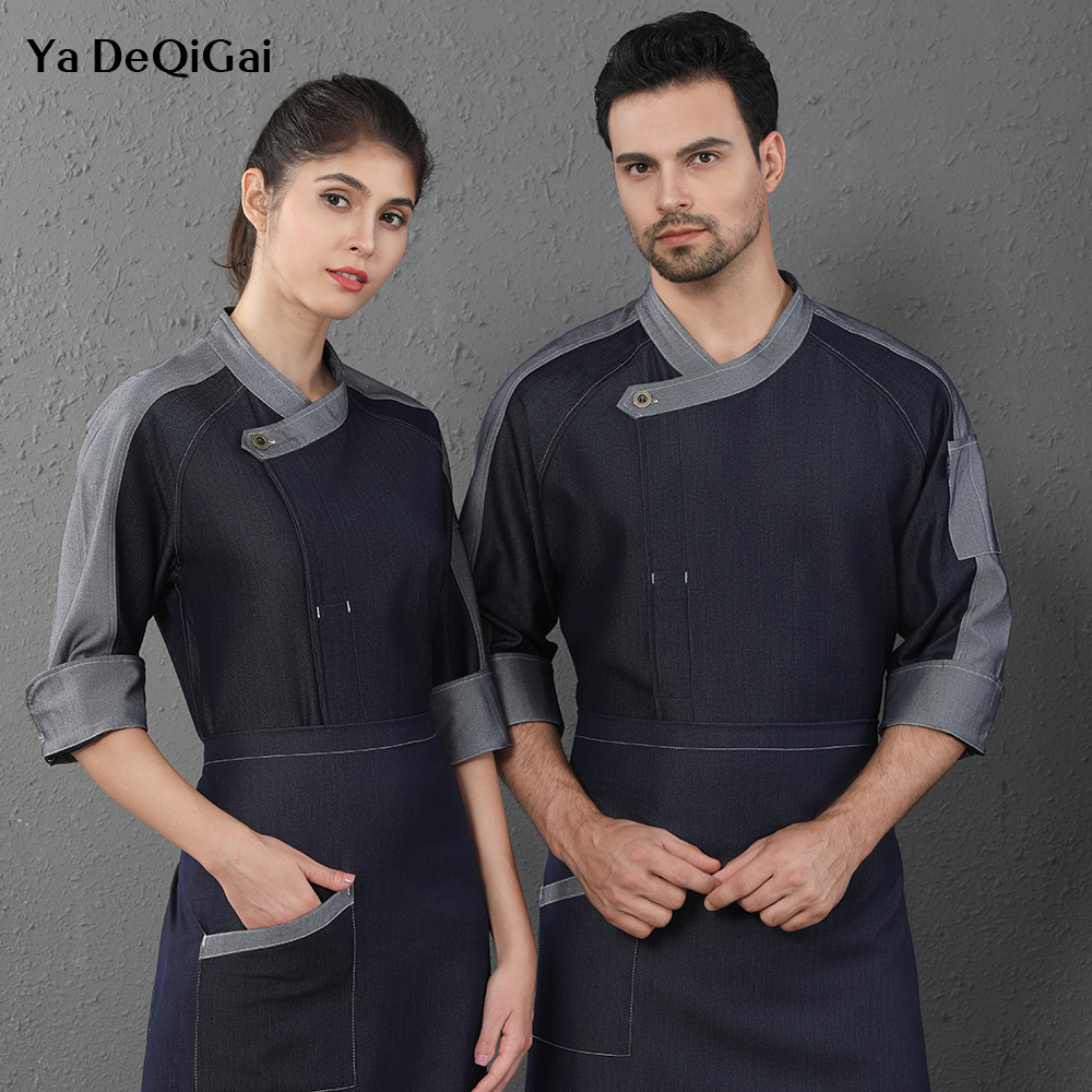 Unisex Long Sleeved Restaurant Chef Uniforms Hotel Kitchen Work Jackets Coffee Shop Waitress Workwear M-4XL Catering Cook Shirts