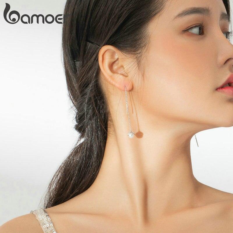 bamoer Genuine 925 Sterling Silver Pearl Long Chain Drop Dangle Earrings for Women Elegant Wedding Statement Jewelry BSE373