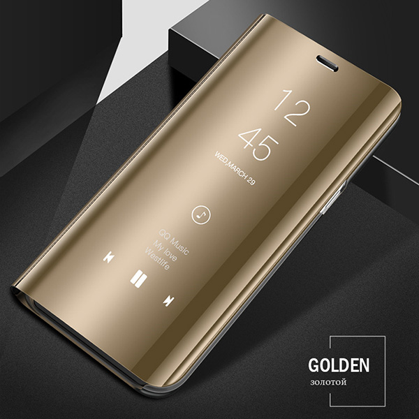 Смарт mi rror флип чехол для Xiao mi Red mi Note 8 7 K20 5 6 Pro 4X5 Plus 5A 8A 7A S2 кожаный чехол для mi 9 9T Pro 8 SE A1 A2 чехол - Цвет: Gold