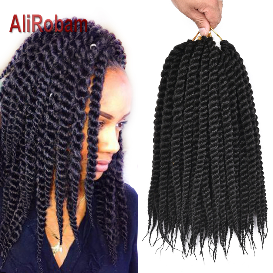 AliRobam Havana Twist Braid Gray/brown/red Braiding Hair Crochet Braids Ombre Color Synthetic Hair Extensions 12 Roots/pack