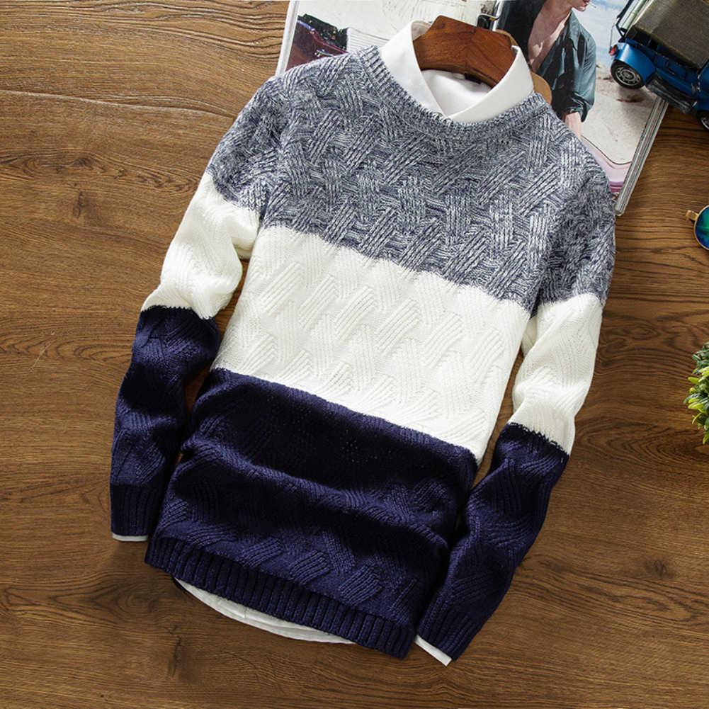 남자 가을 스웨터 오 넥 긴 소매 스웨터 패치 워크 슬림 맞는 니트 풀오버 스웨터 가을 겨울 당겨 옴므 erkek