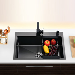 Stainless Steel Kitchen Sinks Black Single Bowel Kitchen Sink Above Counter and Udermount Vegetable Washing Basin ATS800