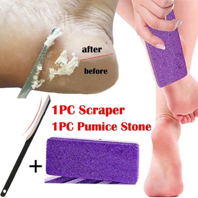 1PC Pumice Stone + 1PC Scraper Professional Handle Dead Skin Calluses Removal Feet Care Nursing Foot Pedicure