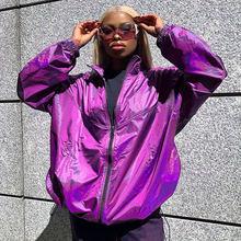 Париж для девушек уличная фиолетовый свободные куртки Женская