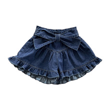 Summer 2021 girls jean shorts with bow lace lady's thin casual pants baby girl shorts
