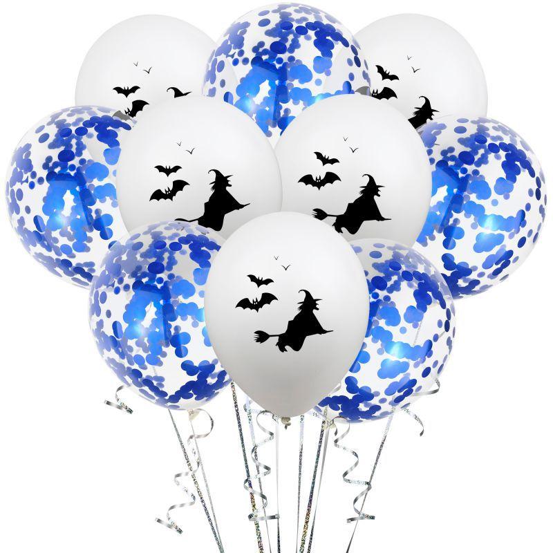 10 unids/lote globos claro de estrellas oro confeti de papel araña murciélago con diseño de fantasmas impreso globos feliz fiesta de cumpleaños de Halloween decoraciones - 4