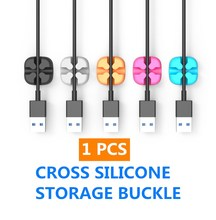1pcs Cross Cable Fixer Desktop Cable Organizer Silicone Cable Clip Data Cable Storage Buckle Cable Single Port Five Colors