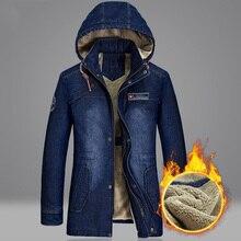 Jean Coat Jackets Hooded-Fleece Windbreaker Men's Winter Chaqueta Warm Male M-5XL Autumn