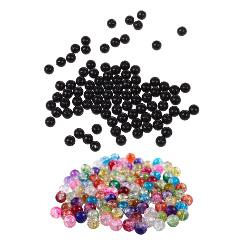 300 Pcs Beads : 200 PCS 5MM Bright Pears Spacer Loose Beads Jewelry Making Black With 100 Pcs Mixed Crackle Glass Round Beads 8M