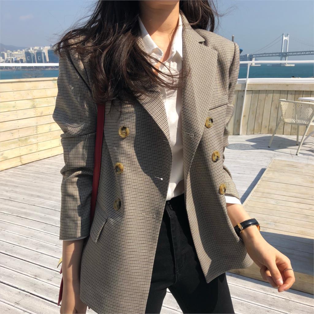 2020 Autumn Wild Double Breasted Fashion Classic Blazer Jacket Blazer Notched Collar Female Suits Coat Fashion Houndstooth
