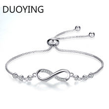 Fashion Cubic Zirconia Bracelet Infinity Endless Love Bracelet Adjustable Infinity Chain Bracelets/Bangle Gifts for Women Girls(China)