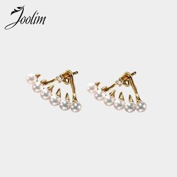 JOOLIM, pendientes de chaqueta de acero inoxidable con perlas para mujer, pendientes de boda al por mayor