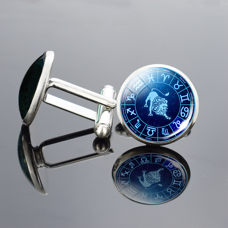 12 Zodiac Signs Glass Cabochon Cufflinks Silver Metal Constellations Cuff Link For Men Shirt Accessories Valentines Day Gifts