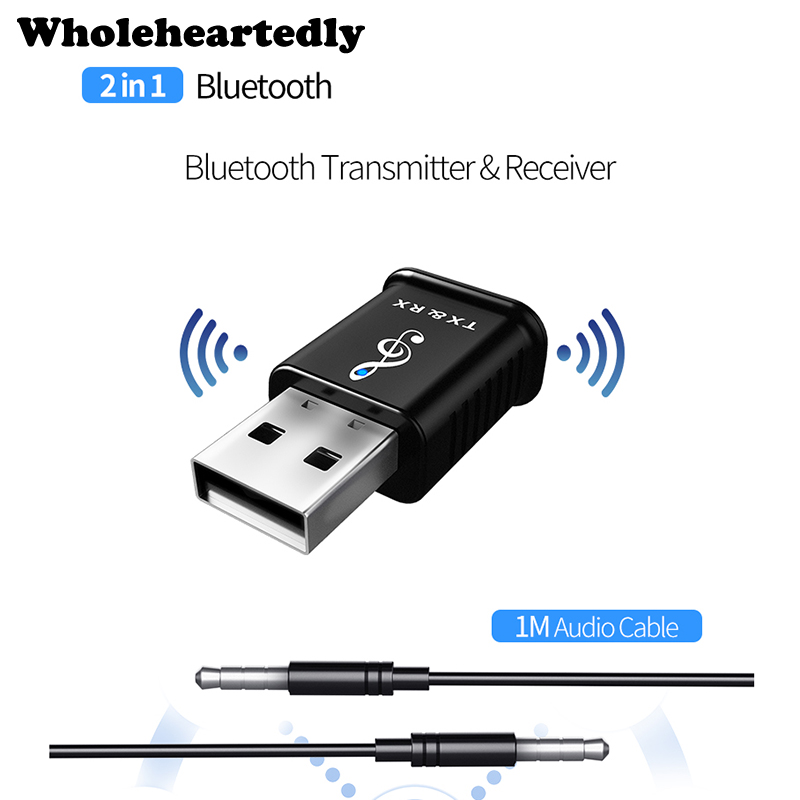 2 in 1 Portable USB <font><b>Bluetooth</b></font> <font><b>5.0</b></font> Transmitter Receiver <font><b>Car</b></font> kit Mini 3.5mm AUX Wireless Stereo Audio <font><b>Adapter</b></font> For <font><b>Car</b></font> Music For TV image