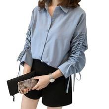 Women Casual Chiffon Blouse Long Sleeve V-neck Tops Office Shirt Lady