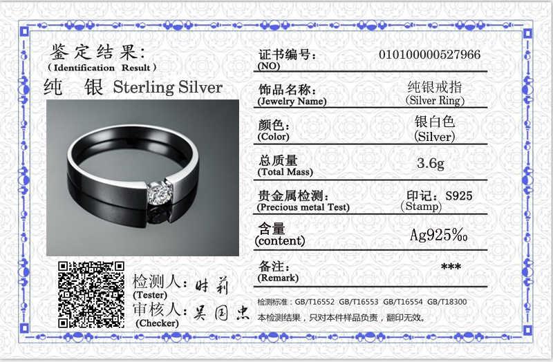 Com certificado genuíno 925 anéis de prata esterlina para mulheres masculinas casal anéis de casamento anel de dedo feminino jóias finas rd10