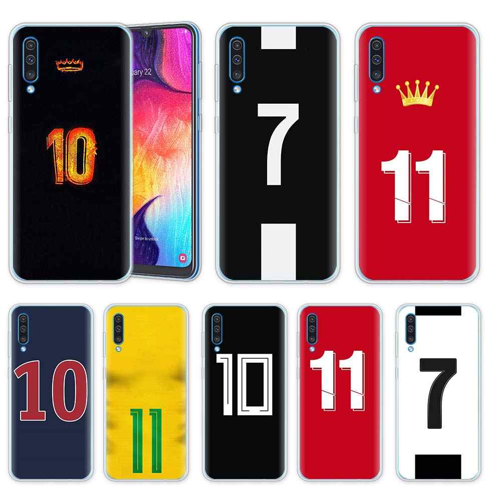 Football Number 10 Cases for Samsung Galaxy A50 A20 e A70 A80 A60 A40 A30 A10 s A9 A7 A8 A6 Plus 2018 Silicone Phone Cover Coque
