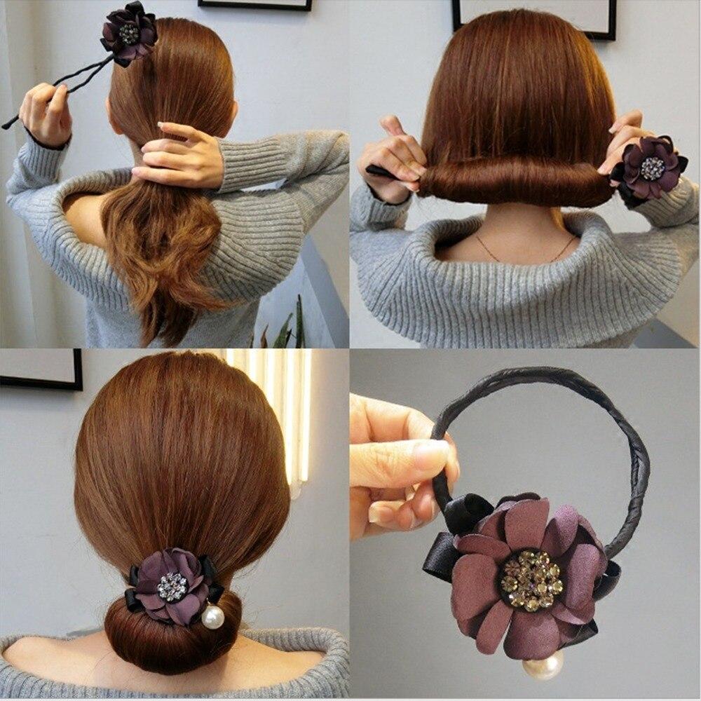 Kadın çiçek Donut Bun Maker zarif çiçek DIY saç stili araçları moda stil saç bigudi aksesuarları Styling cihazı sıcak