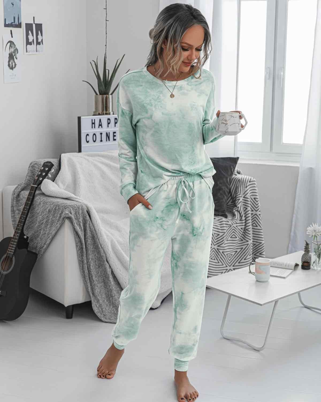 Fashion Printing Musim Gugur Musim Dingin Set Pakaian Wanita Kasual Memakai Rumah Kemeja Lengan Panjang Wanita Dua Sepotong Set top dan Celana