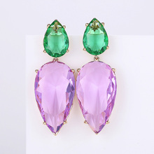 Hot Multi color Water Drop Earrings AAA Cubic Zircon Crystal Asymmetry for Women High Quality Jewelry Brand New