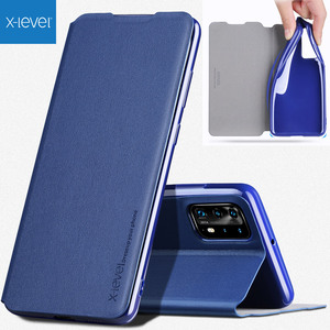Image 1 - X Level Book Flip Leather Case For Huawei P40 Pro Pro+ Plus Ultra thin Slim