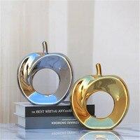 Simples e moderno oco maçã ornamentos de cerâmica artesanato decoração gabinete tv janela acessórios arte decoração para casa a845