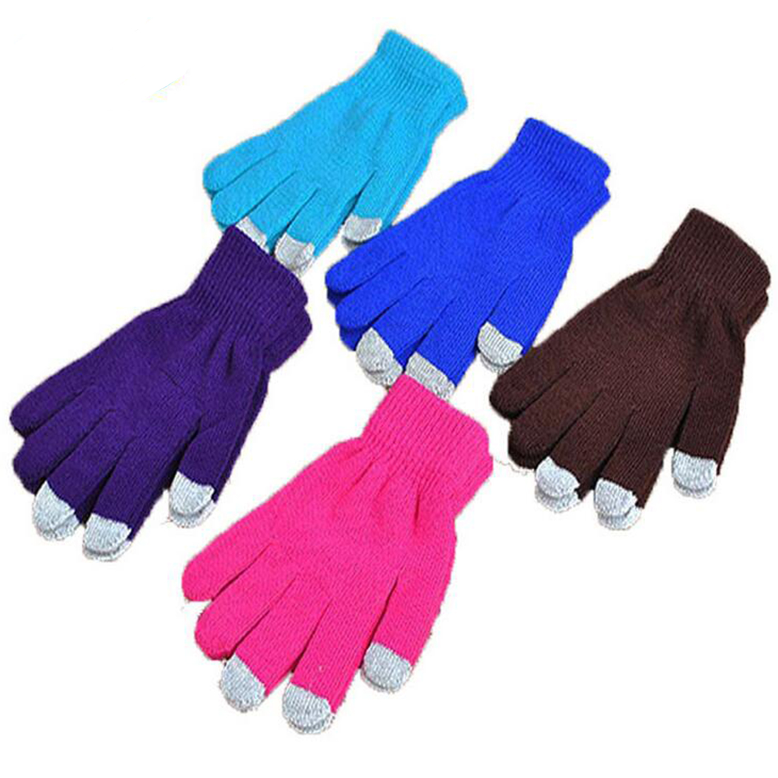 <font><b>Winter</b></font> Touchscreen Handschuhe Texting Kappe Smart Telefon Frauen Männer Warme Stretch Stricken Handschuhe Voll Finger Weiblichen Häkeln Weiche Verdicken image