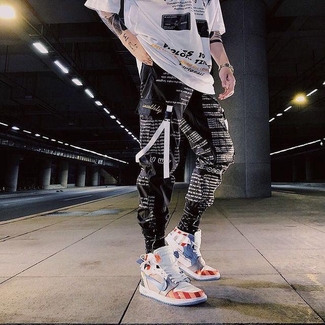 Color Block Pocket Patchwork Cargo Joggers Men Graffiti Hip Hop Letter Print Harem Pants Mens Casual Dance Trousers Sweatpants 2