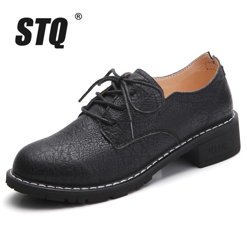 Image 2 - STQ/женские туфли оксфорды на плоской подошве; женские лоферы из натуральной кожи; женские кроссовки на шнуровке; женская зимняя обувь; LSJ1208Обувь без каблука   -