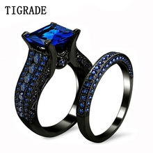 TIGRADE Man Woman Ring Sets Black Big Stone Vintage Alloy Gothic Luxury Wedding Rings Cool bague homme Sorcerer anel masculino