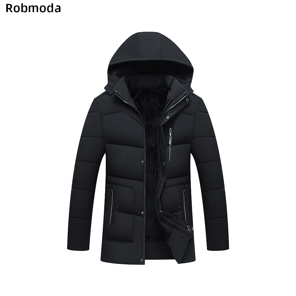 Men Long section Plus velvet Thicken Coats Jackets Lining Fleece Man 39 s Hooded Keep warm zipper Leisure Cotton clothing Slim fit in Jackets from Men 39 s Clothing