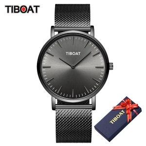 Image 5 - TIBOAT moda męskie zegarki Top marka luksusowy zegarek kwarcowy mężczyźni Casual Slim, z siatką stalowe wodoodporne zegarki sportowe Relogio Masculino