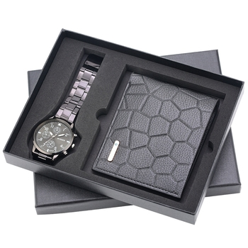 Watch Wallet Gifts for Men Clock Male Fashion Irregular Grain Men's Money Bag Credit Card Holder Dollar Bill - discount item  41% OFF Men's Watches