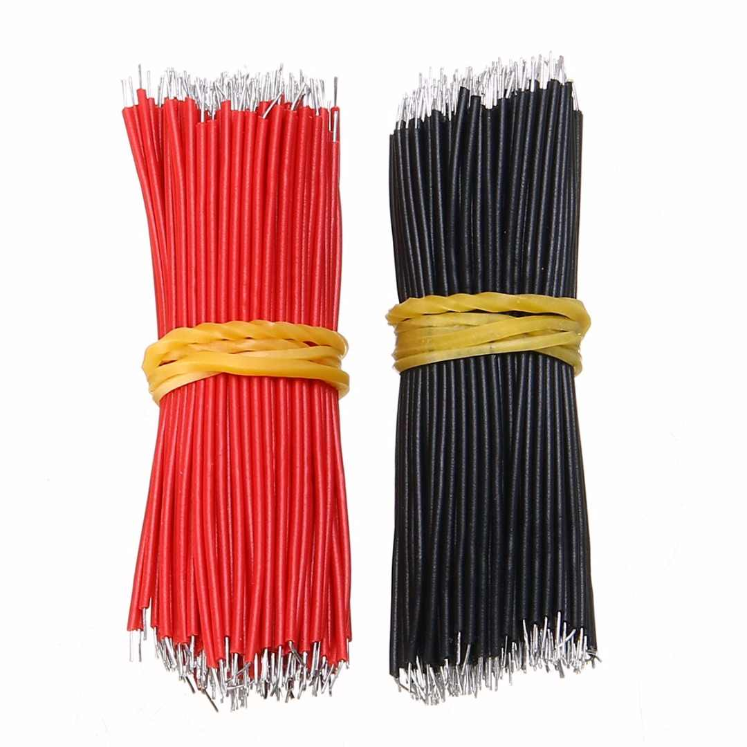 400pcs 6cm Length Tin-Plated Breadboard Jumper Cable Wire Black and Red For Arduino Bread Board