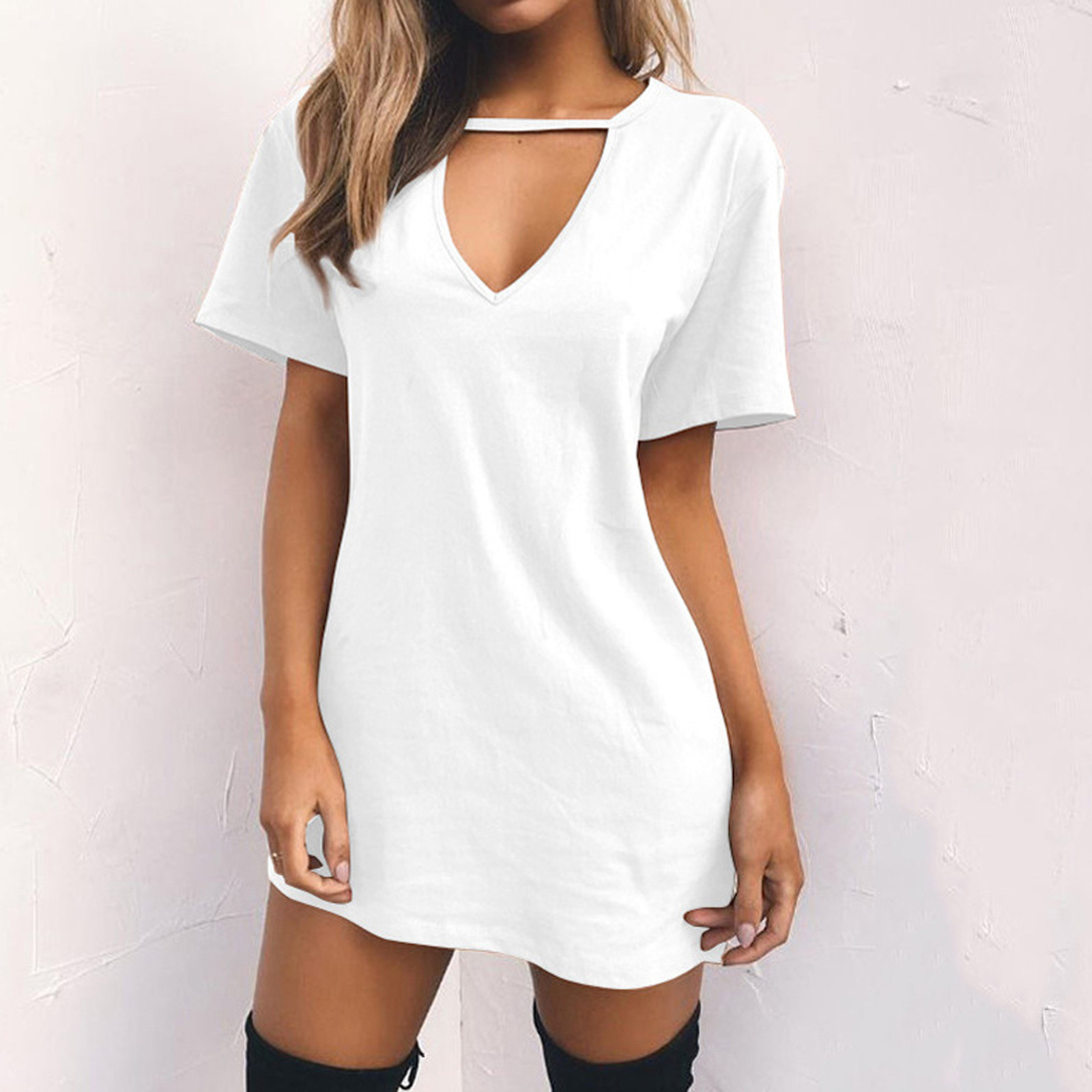 25# Women Casual Hollow Out Mini Dress Short Sleeve V-Neck Solid color Ladies Plus Size streetwear dress Vestido Mujer Femme