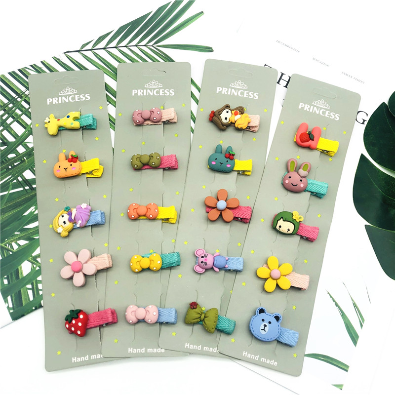 New 5Pcs/Set Girls Hair Clips Cute Bow Animal Hair Accessories 3.5cm Barrettes Cloth Safe Baby Hairpin Princess Floral Headdress