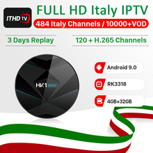 Italy IPTV France Arabic IP TV Code HK1 MINI+ Android 9.0 4G+32G BT Dual-Band WIFI Portugal Turkey