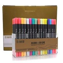1pc marcadores de aquarela desenho pintura água coloração escova caneta cabeça ponta dupla arte suprimentos cor aleatória