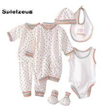 8 шт., комплект одежды для новорожденных мальчиков и девочек, топы с длинным рукавом + шапка + брюки + нагрудник + носочки + комбинезон, комплект...