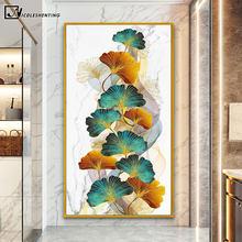 Peinture murale abstraite avec feuilles dorées et marbre, affiche de luxe, image botanique moderne, pour décoration de salle de maison