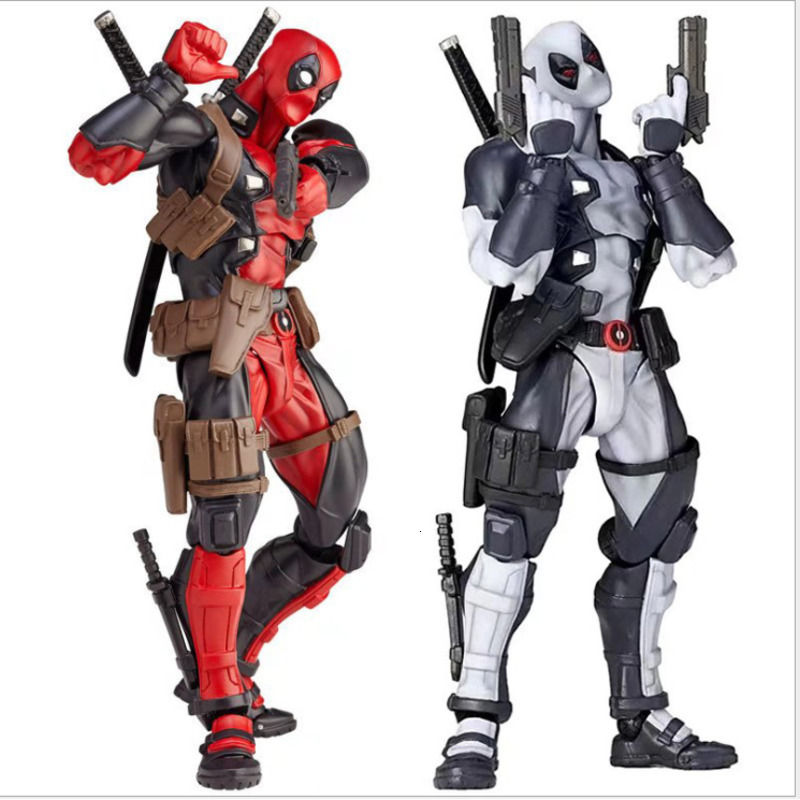 Marvel 16cm X-MAN DeadPool Super Hero BJD Joints Moveable Changeable Face Box Hand Action Figure Model Toys