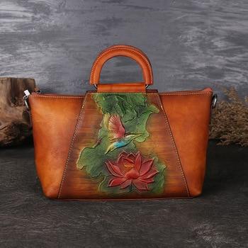 Flower Embossed Genuine Leather Handbag