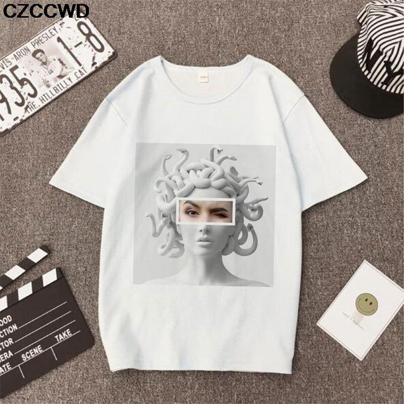 Poleras Mujer De Moda 2019 Summer T Shirt Women Medusa Print Vogue Harajuku Tshirt Plus Size Aesthetic T-shirt Camiseta Mujer