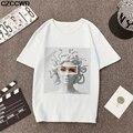 Poleras Mujer de Moda 2019 Verão T Shirt Mulheres Vogue Medusa Impressão Harajuku Camiseta Plus Size Estética T-shirt Camiseta Mujer