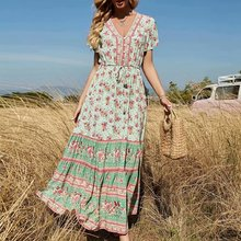 Dresses Ladies Bohemian Maxi Boho Floral-Print Happie Queens Front-Botton V-Neck Beach