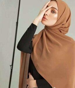 Image 3 - Sartenes de chifón largo para mujer, de Color liso hijab, chal para cabeza para mujer islámica, pañuelo musulmán, envoltura de phasmina 175*70cm
