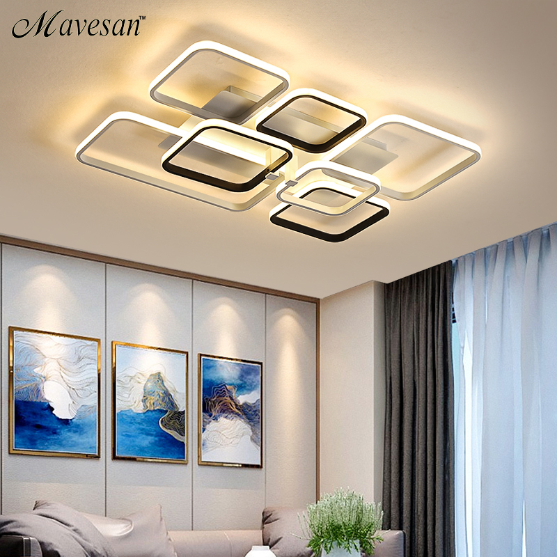 Grey white Rectangle shape Modern LED Ceiling lights for living room bed room studio lighting Creative modern ceiling lamp